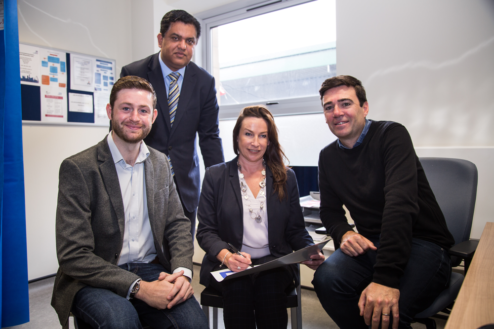 Dr Zahid Chauhan, Jim McMahon MP, Chief Executive of BARDOC, Vicky Riding and Mayor of Greater Manchester, Andy Burnham